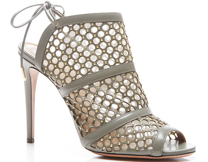 Aquazzura Gray Blondie Studded Leather and Mesh Sandals