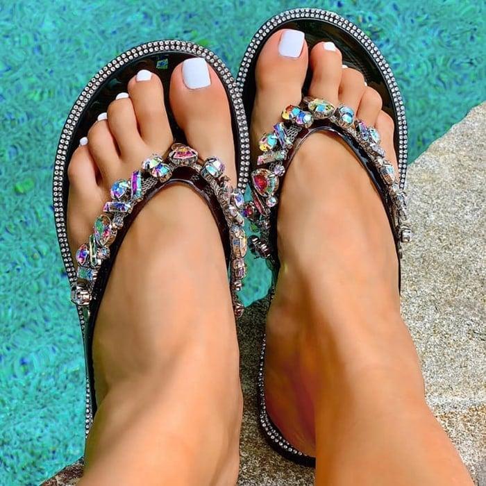 Black Rhinestones Open Toe Jelly Sandal