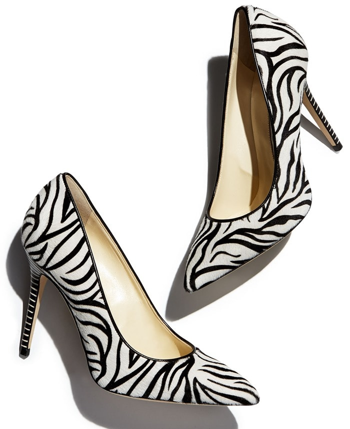 Brian Atwood White Zebra Calf-Hair Pointy-Toe Pumps