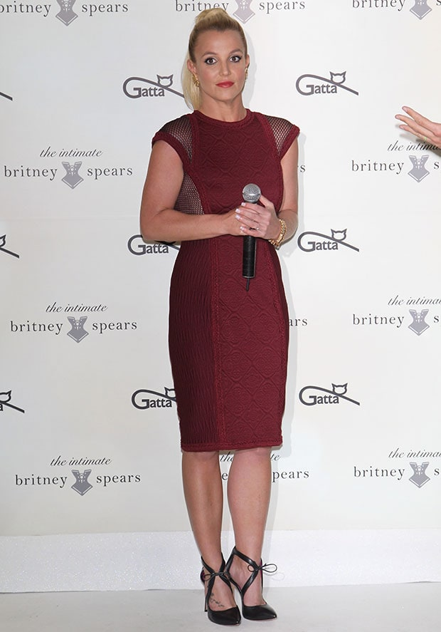 Britney Spears at the launch of her Intimate collection at the new GATTA store at Zlote Tarasy shopping center in Warsaw, Poland, on September 24, 2014
