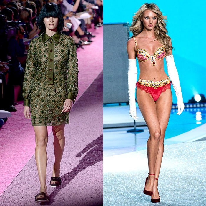 Candice Swanepoel walking the Marc Jacobs spring 2015 fashion show vs. the 2013 Victoria's Secret Fashion Show