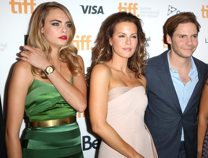 Cara Delevingne, Kate Beckinsale, and Daniel Bruhl at the premiere of 'The Face of an Angel'at the Toronto International Film Festival