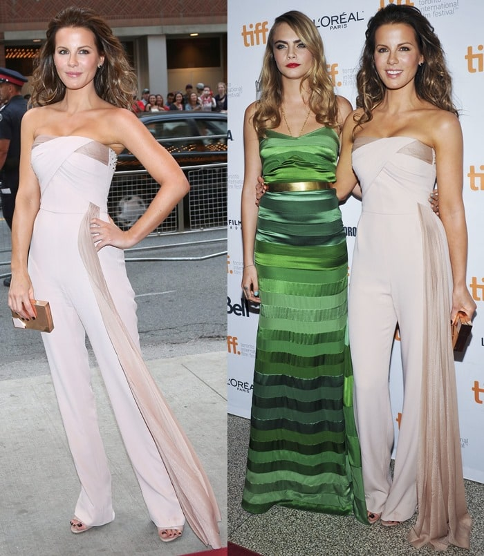 Kate Beckinsale, posing withCara Delevingne, ina strapless nude jumpsuit from Loris Azzaro Couture