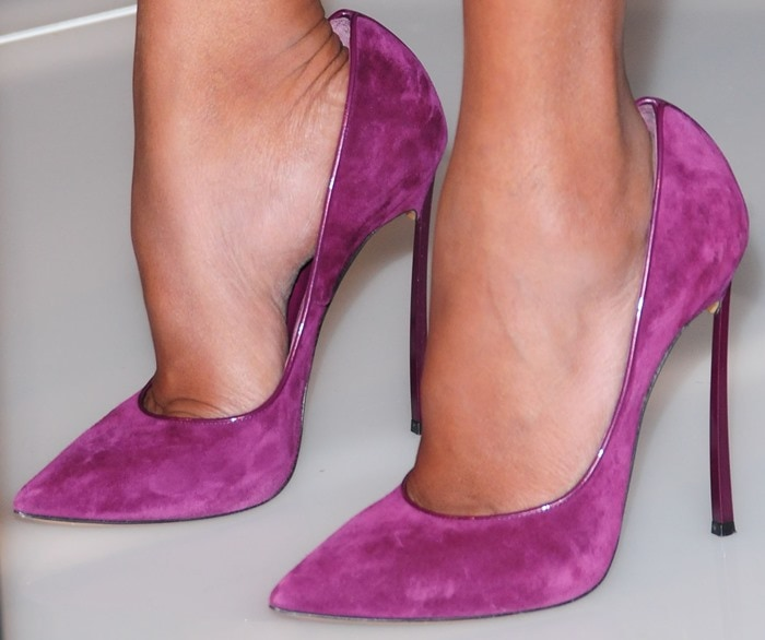 """Kerry finished the look with purple Casadei """"Blade"""" pumps"""
