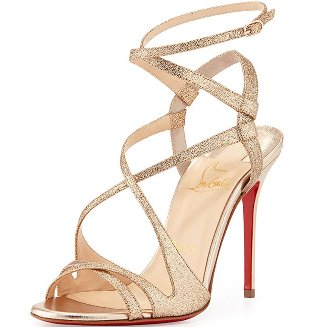 Christian Louboutin 'Audrey' Strappy Glitter Sandals in Poudre