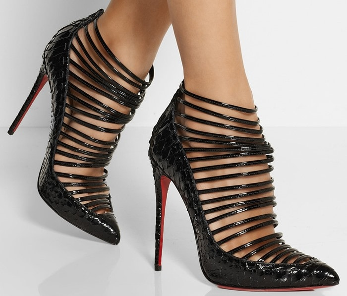 Christian Louboutin Black Gortik 120 Python and Patentleather Ankle Boots