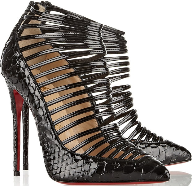 Christian Louboutin Gortik Python-and-Patent-Leather Ankle Boots