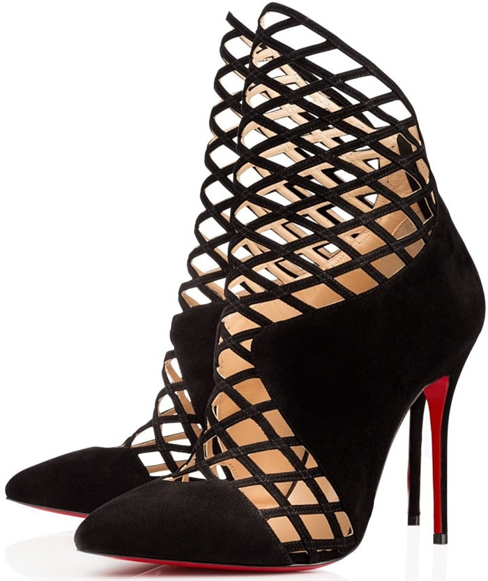 Christian Louboutin Mrs Bouglione Suede Cage Ankle Boots