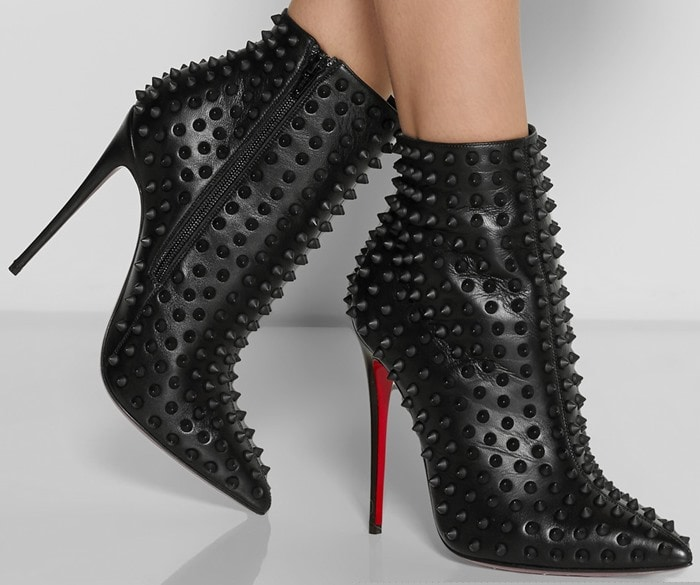 """Christian Louboutin """"Snakilta"""" 120 Spiked Leather Ankle Boots"""