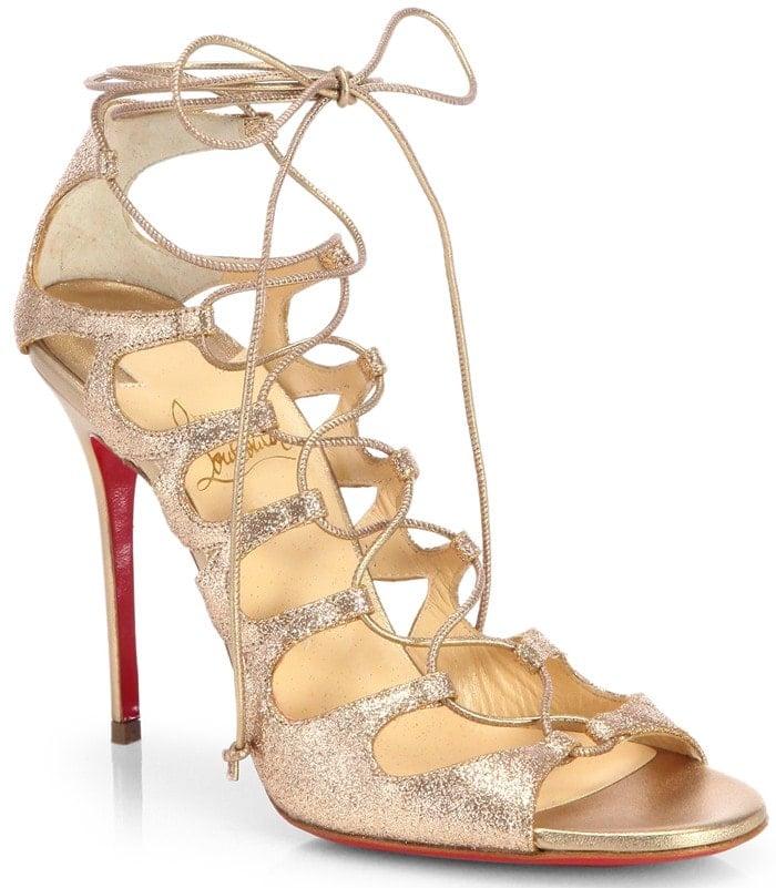 Christian Louboutin Gold Aqueduchesse Glitter Laceup Sandals