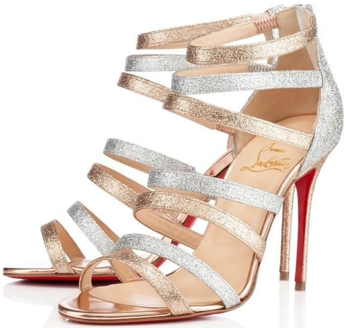 """Christian Louboutin """"Mariniere"""" Red-Sole Glitter Cage Booties in Silver"""