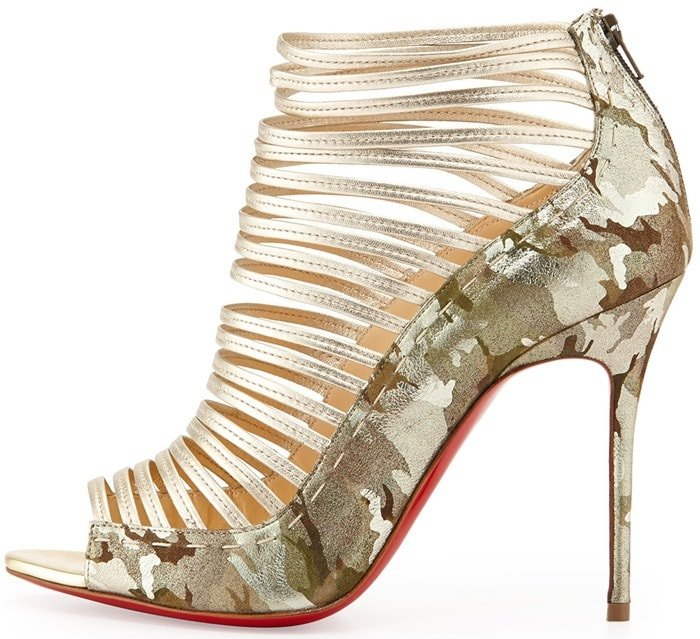 Christian Louboutin Gortik Camo Metallic Red Sole Bootie Goldplatine