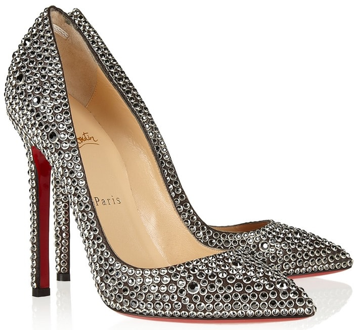 Christian Louboutin Silver Pigalle 120 Crystalembellished Suede Pumps