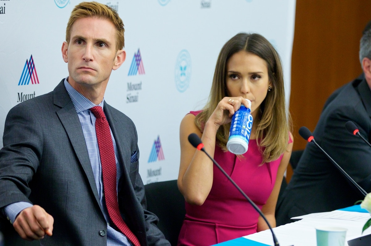 Christopher Gavigan and Jessica Alba attend the unveiling of The Honest Company Ultra Clean Room