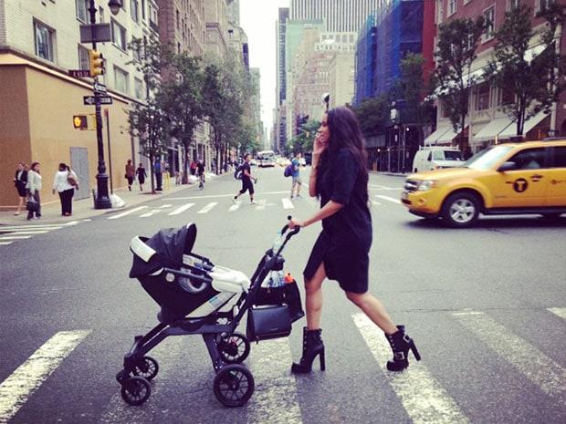 Ciara wearing a Topshop shirt dress and Alexander McQueen biker boots in New York City