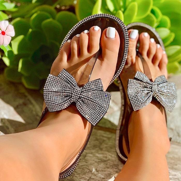 Clear Bow Rhinestones Jelly Sandal