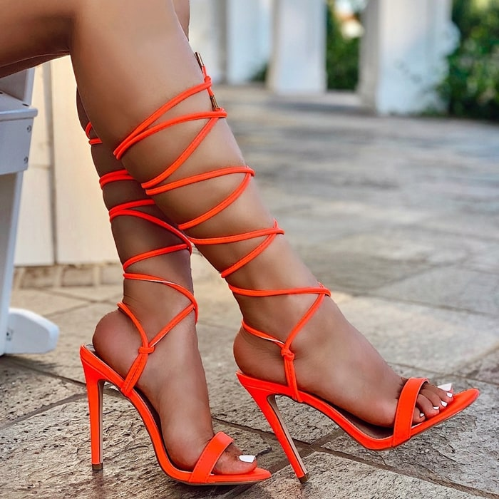 Coral Strappy Lace Up High Heels