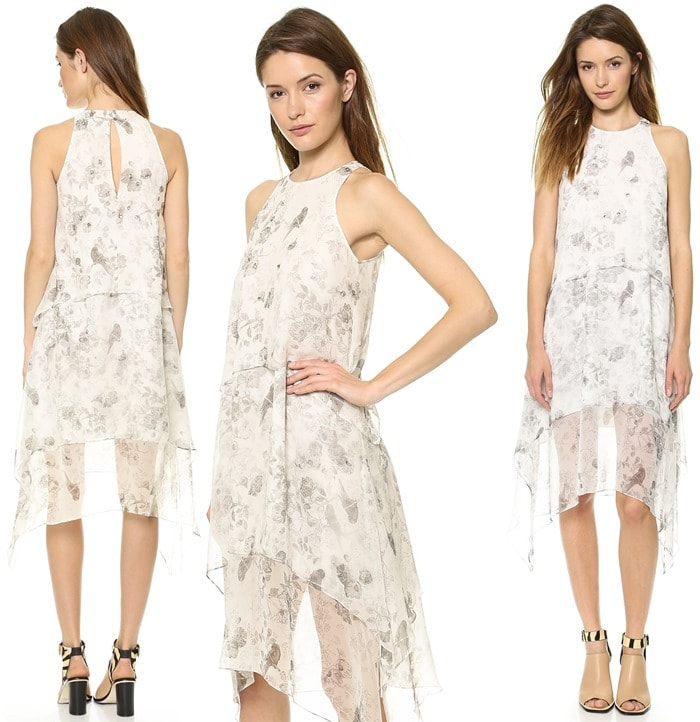 A sleeveless Elizabeth and James dress has tiers of silk gauze in a romantic greyscale floral print