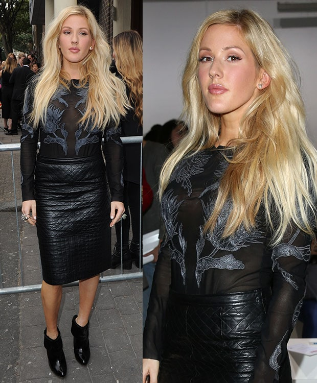Ellie Goulding'sembroidered mesh bodysuit with long sleeves