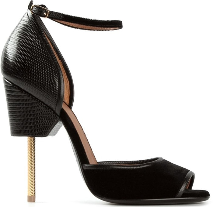 """Black Textured Leather Givenchy """"Matilda"""" Sandals"""