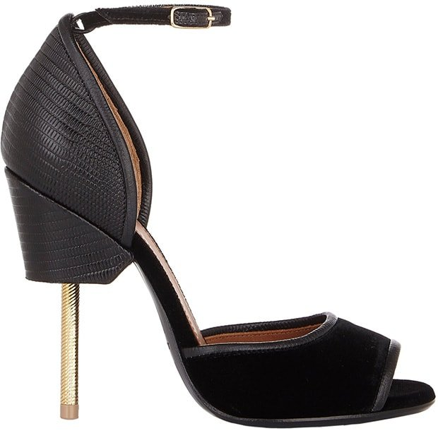 Givenchy Matilda Sandals in Black Lizard-Effect Leather and Velvet