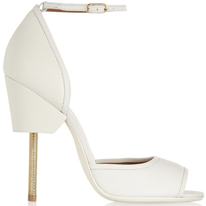 White Textured Leather Givenchy Matilda Sandals