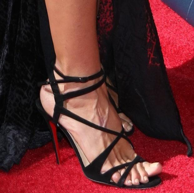 Heidi Klum wearing Christian Louboutin 'Audrey' sandals