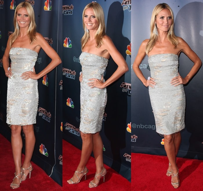 Heidi Klum's silver embellished strapless dress by KaufmanFranco that looked like abath towel