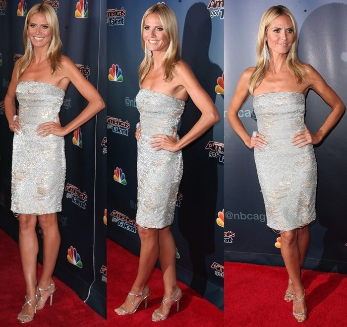 Heidi Klum's silver embellished strapless dress by KaufmanFranco that looked like a bath towel