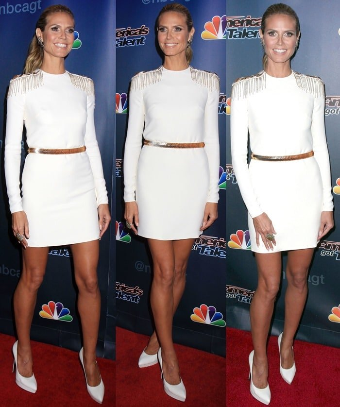 Heidi Klum completed the outfit with a pair of white leather platform stilettos by Saint Laurent