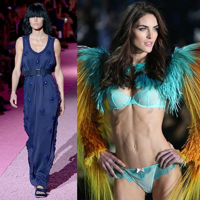 Hilary Rhoda walking the Marc Jacobs spring 2015 fashion show vs. the 2013 Victoria's Secret Fashion Show
