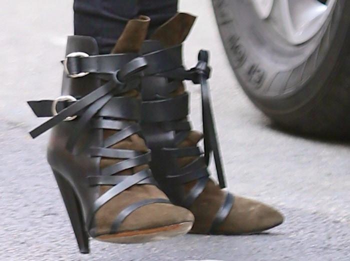 Abbey Clancy wearingIsabel Marant Royston ankle boots
