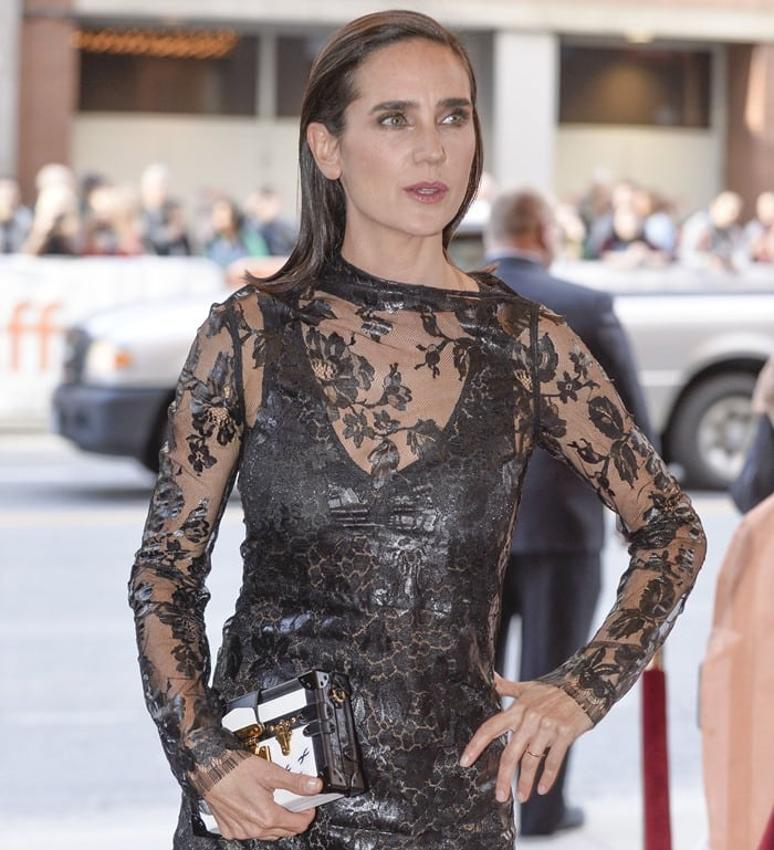 Jennifer Connelly in a sheer black dress at the premiere of her latest film 'Shelter'