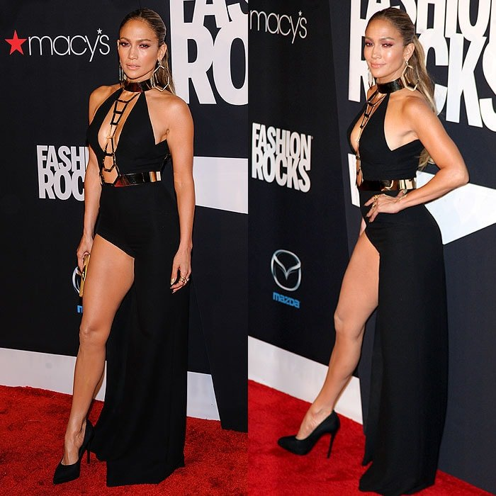 Jennifer Lopez letting her right leg breathe in an Atalier Versace Fall 2014 gown