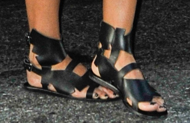 Jessica Alba wearing Ancient Greek x Carven sandals