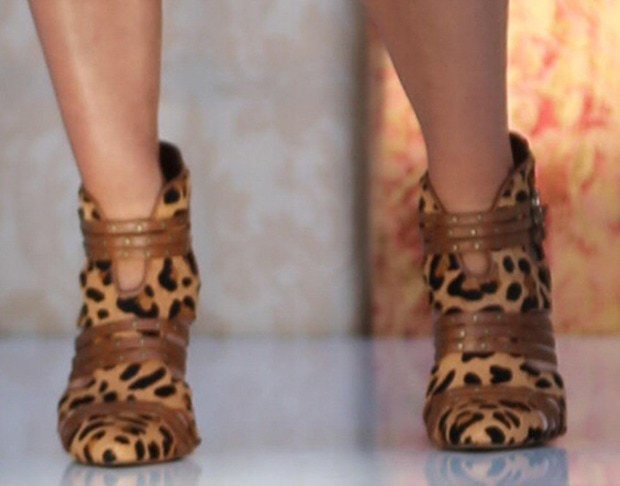 Jessica Simpson wearing leopard print pump booties