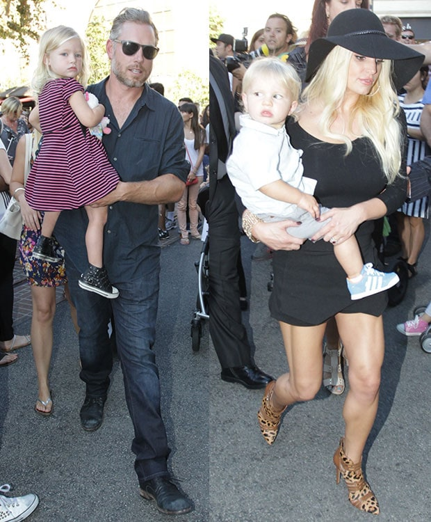 Jessica Simpson, Eric Johnson, daughter Maxwell, and son Ace arriving at The Grove
