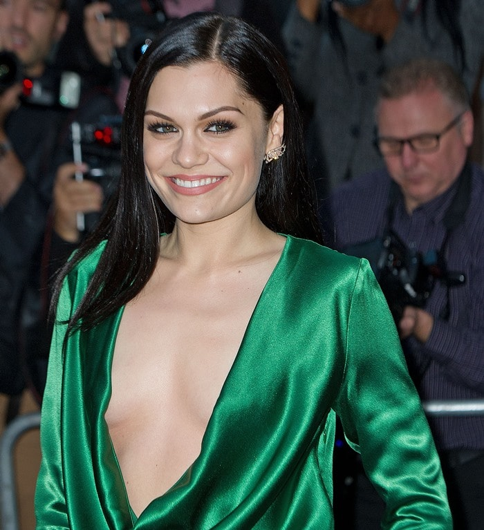 Jessie J accessorized with Stephen Webster rose gold diamond earrings