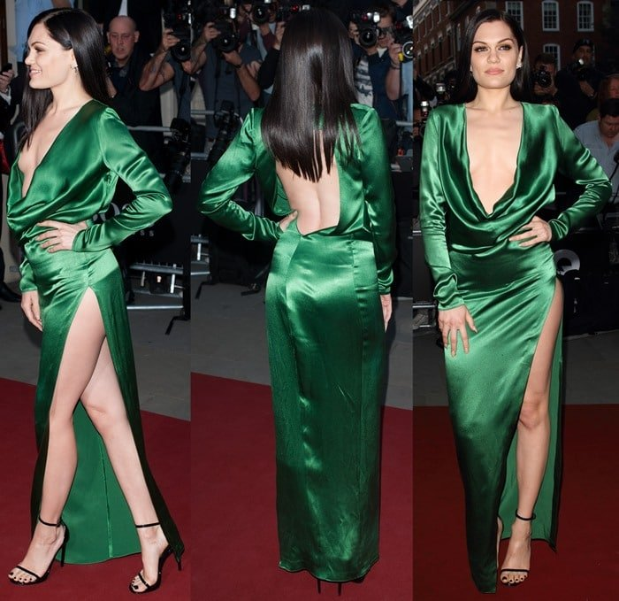 Jessie J ina vintage emerald green dress by Jean Paul Gaultier featuring a draped plunging neckline and a slit high up the hip bone