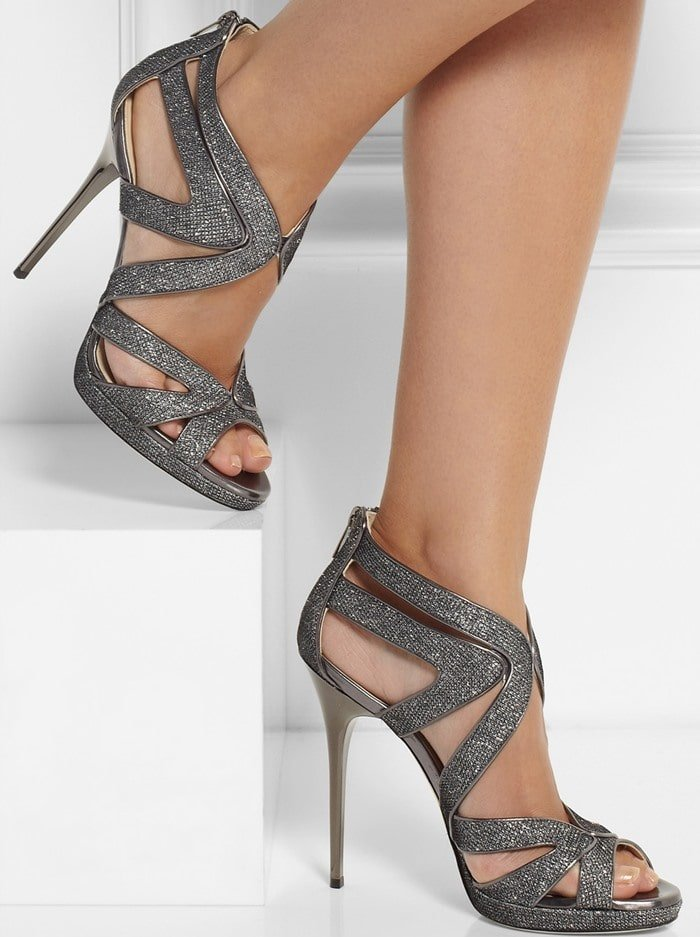 Jimmy Choo Textured-lame sandals