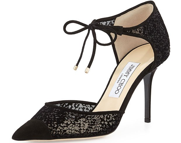 Jimmy Choo Valor Ankle-Tie Burnout Pumps