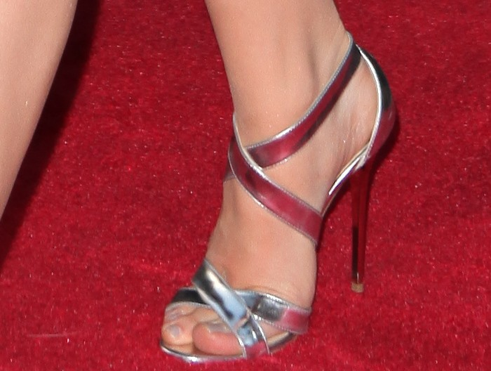 Chloë Grace Moretz inmirrored leather sandals by Jimmy Choo