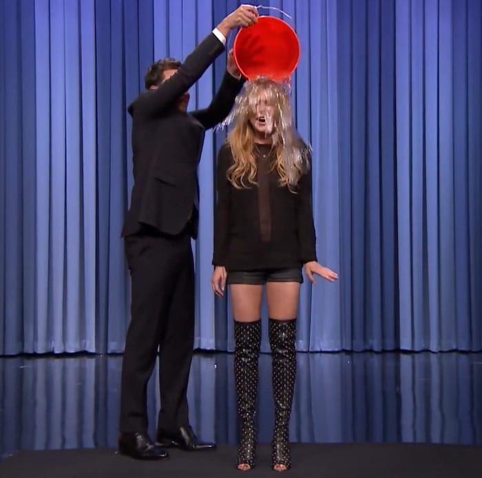 We would also like to find the name of the studded boots that Lindsay wore when taking the ALS Ice Bucket Challenge