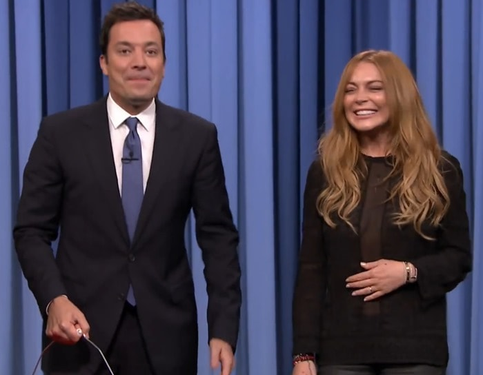 Jimmy Fallon and Lindsay Lohan taking the ALS Ice Bucket Challenge
