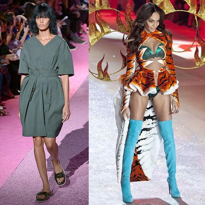 Joan Smalls walking the Marc Jacobs spring 2015 fashion show vs. the 2012 Victoria's Secret Fashion Show on November 7, 2012