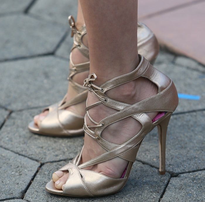 Julianne Hough's feet ingold lace-up cross-over sandals by Monique Lhuillier