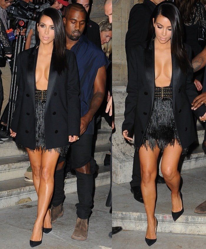 Kim Kardashian left little to the imagination in a feather-fringe miniskirt by Lanvin paired with a black blazer coat