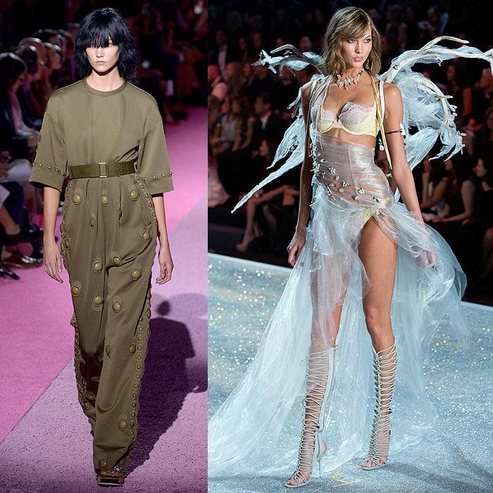Karlie Kloss walking the Marc Jacobs spring 2015 fashion show vs. the 2013 Victoria's Secret Fashion Show