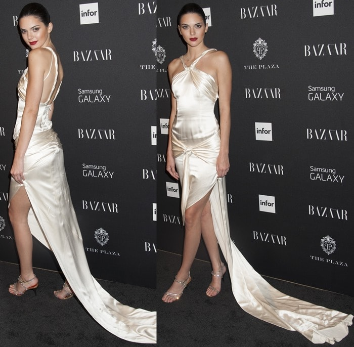 Kendall Jenner paired the stunning gown with a pair of sparkling silver sandals
