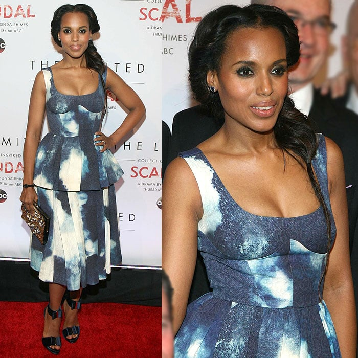 Kerry Washington in a Giles Deacon Resort 2015 peplum dress and dainty Roger Vivier bow sandals